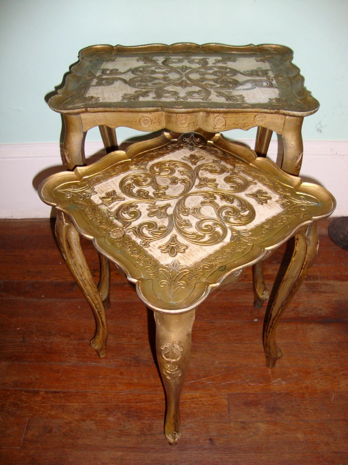 Pair Of Vintage Italian Nesting Tables Florentine Gold Side