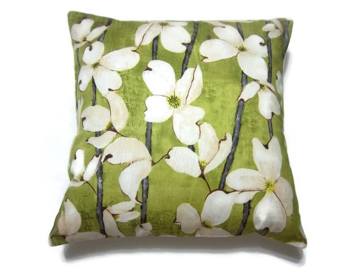 Decorative Pillow Cover Olive Green Cream Gray Dogwood Toss Throw Accent 16 inch - LynnesThisandThat