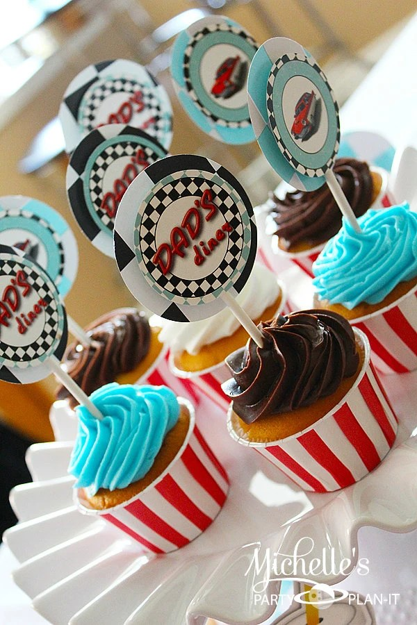 Set of 12 Retro 1950s Diner inspired Cupcake Toppers - PartyPlanItDesigns