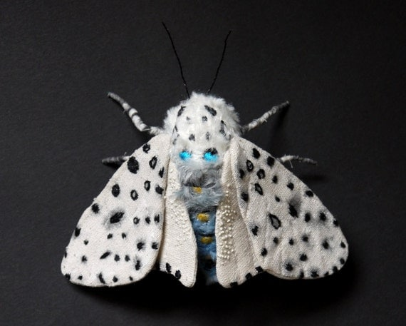 Fabric sculpture -Leopard Moth textile art