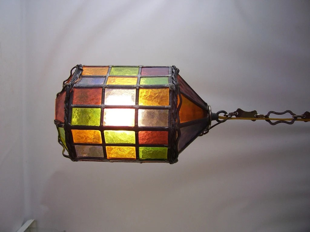 Vintage Stained Glass Leaded Hanging Light Lamp Chandelier