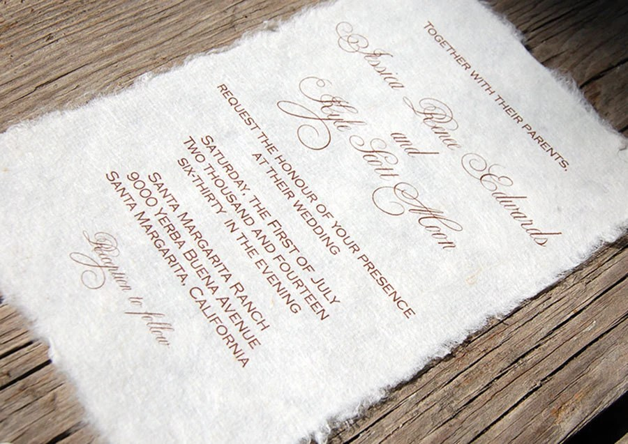 Wedding Invitations Handmade: Mulberry Paper Wedding Invitation
