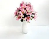 SALE/Pink Silk Floral Arrangement In A White Vase - IllusionCreations