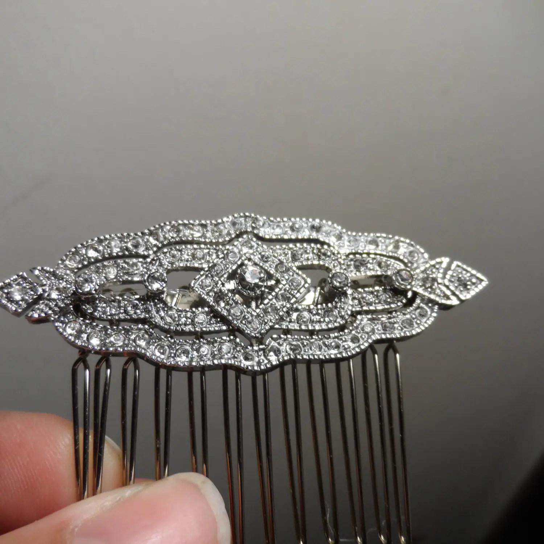 Silver Art Deco Hair Comb Wedding Hair Comb Vintage Hair Comb