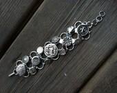 Silver-Tone Button Bracelet