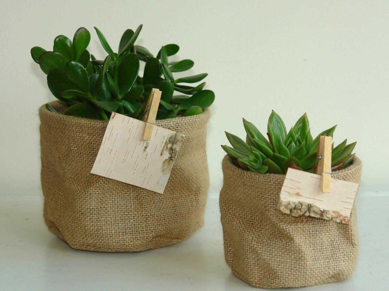 Succulent Flowers Burlap Planter Pot Cover Birch Bark Tags