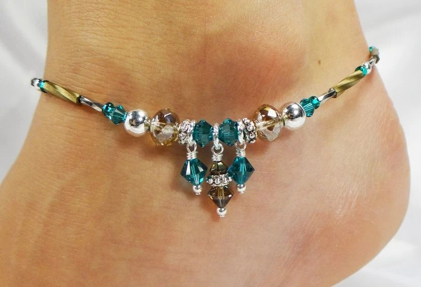Anklet, Ankle Bracelet, Turquoise Blue, Palladium Grey Brown Beaded Anklet, Summer Anklet, Vacation Jewelry, Wedding, Beach Jewelry