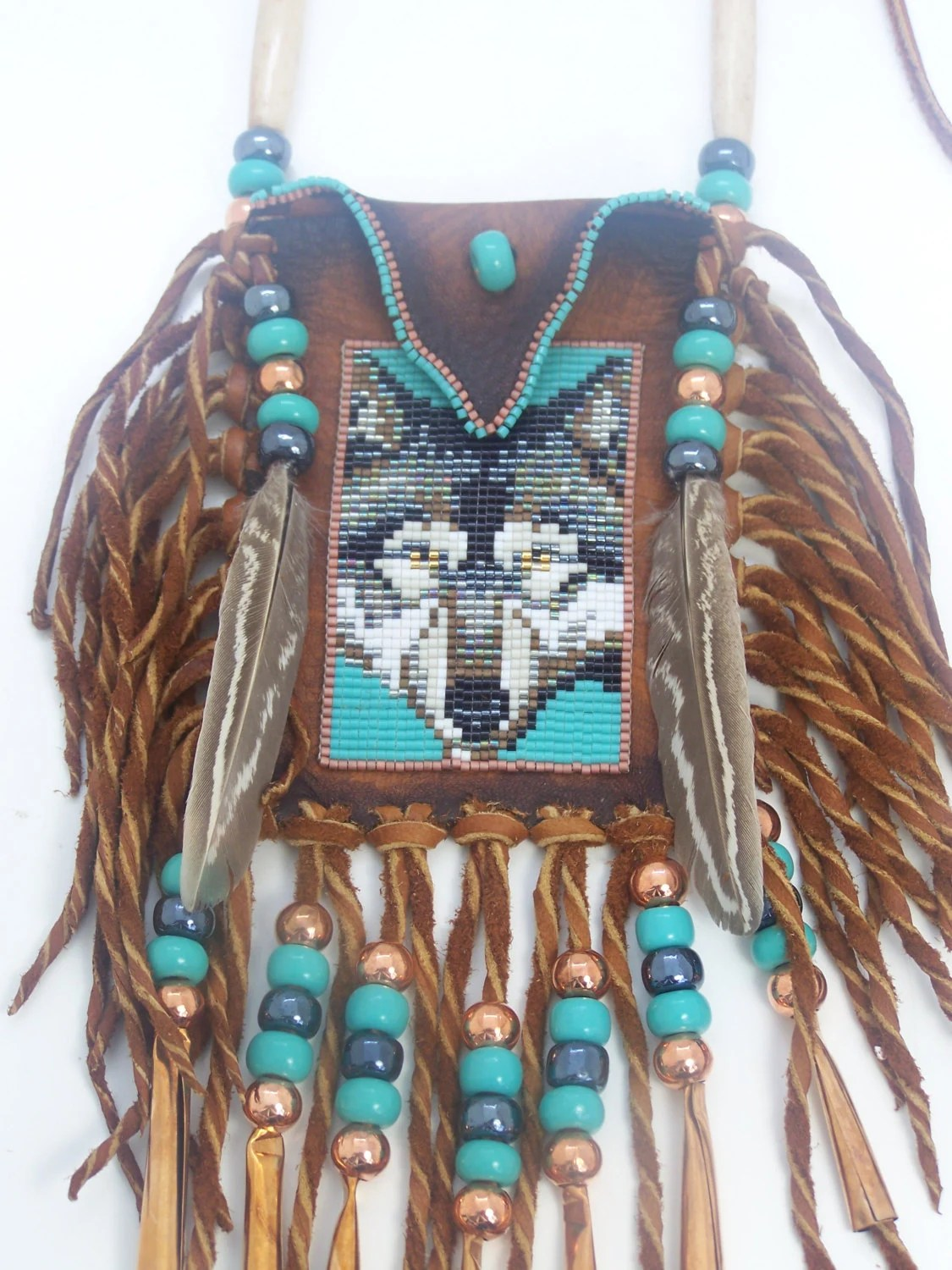 Native American Gray Wolf Portrait With Turquoise Background