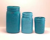 Teal. Blue, Aqua, Tiffany Blue - Home Decor - Wedding Decor - Vase - Painted Mason Jars - Office Decor - Kitchen Decor - Bathroom Decoration - Lavenderandash