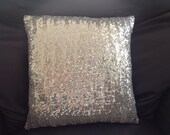 Decorative pillow cushion TINY silver sequins - PillowParlance