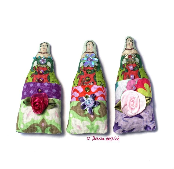 SALE  Set of Three Lavender Filled Doll Sachets.  Use coupon code SEA15 at checkout for 15% OFF