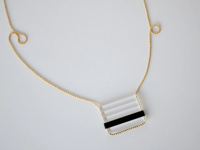 Laser Cut Acrylic Necklace - Clear and Black Stacked Bars - Modern Layer Necklaces for Men or Women - Lasercut Color Block Beach Jewelry