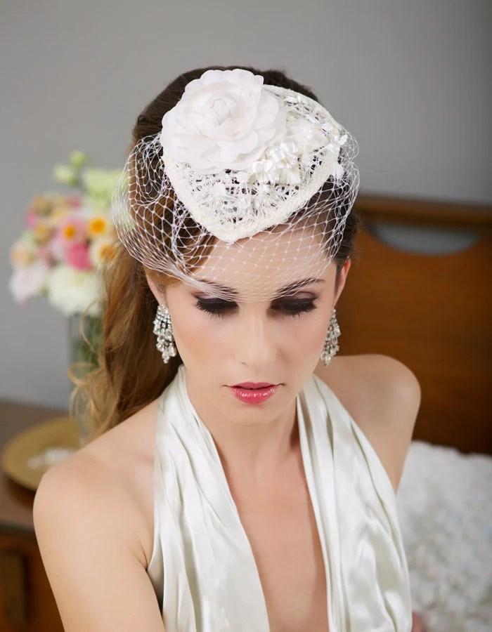 Ivory Lace Bridal Hat Birdcage Veil Hat Wedding Fascinator