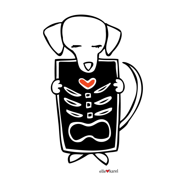 X Ray Dog Elle Karel Original Illustration Print On By