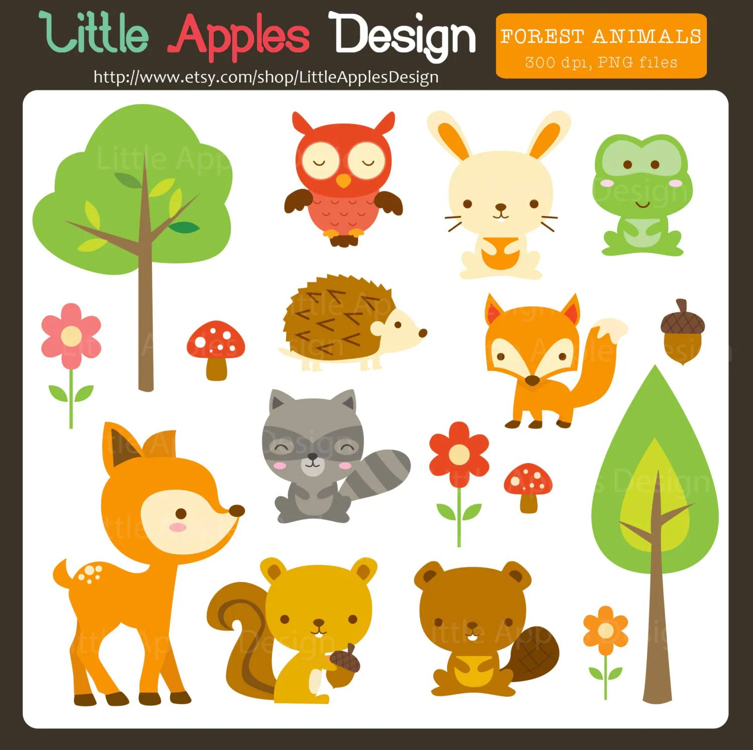 Woodland Animal Clipart Woodland Tier Clipart Wald Tiere