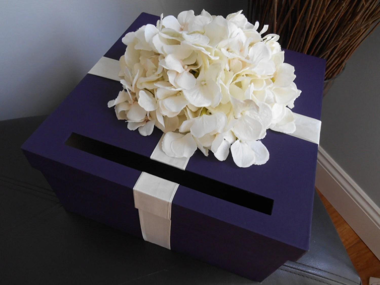 Custom Wedding Card Box Dark Purple With Ivory Hydrangeas