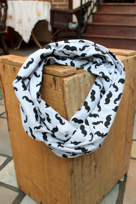 Jersey Infinity Scarf in Mustache Print