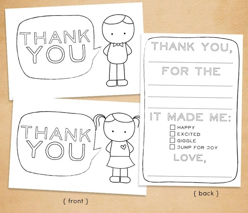 printable coloring thank you cards printable quot thank you quot card for