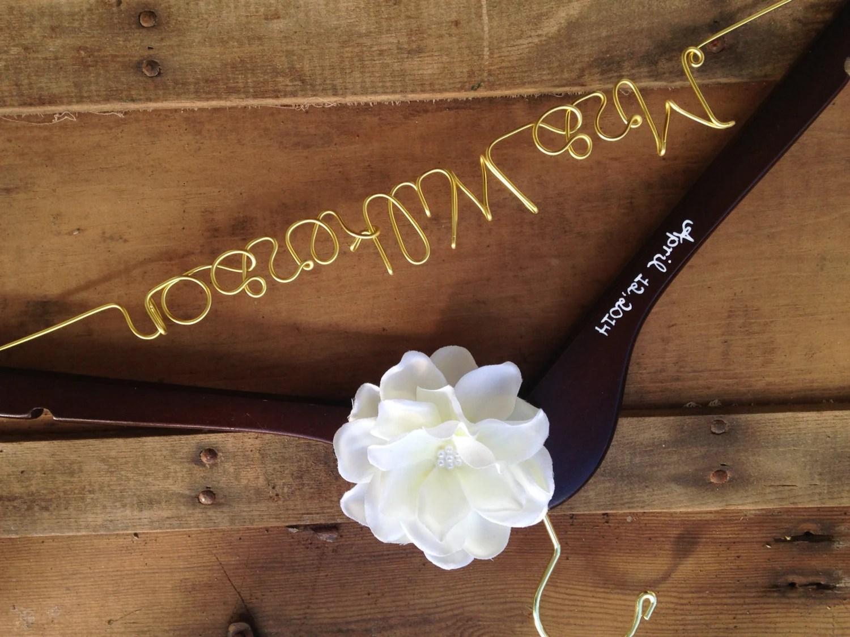 Custom Wedding Dress Hanger Gold Personalized Hanger With