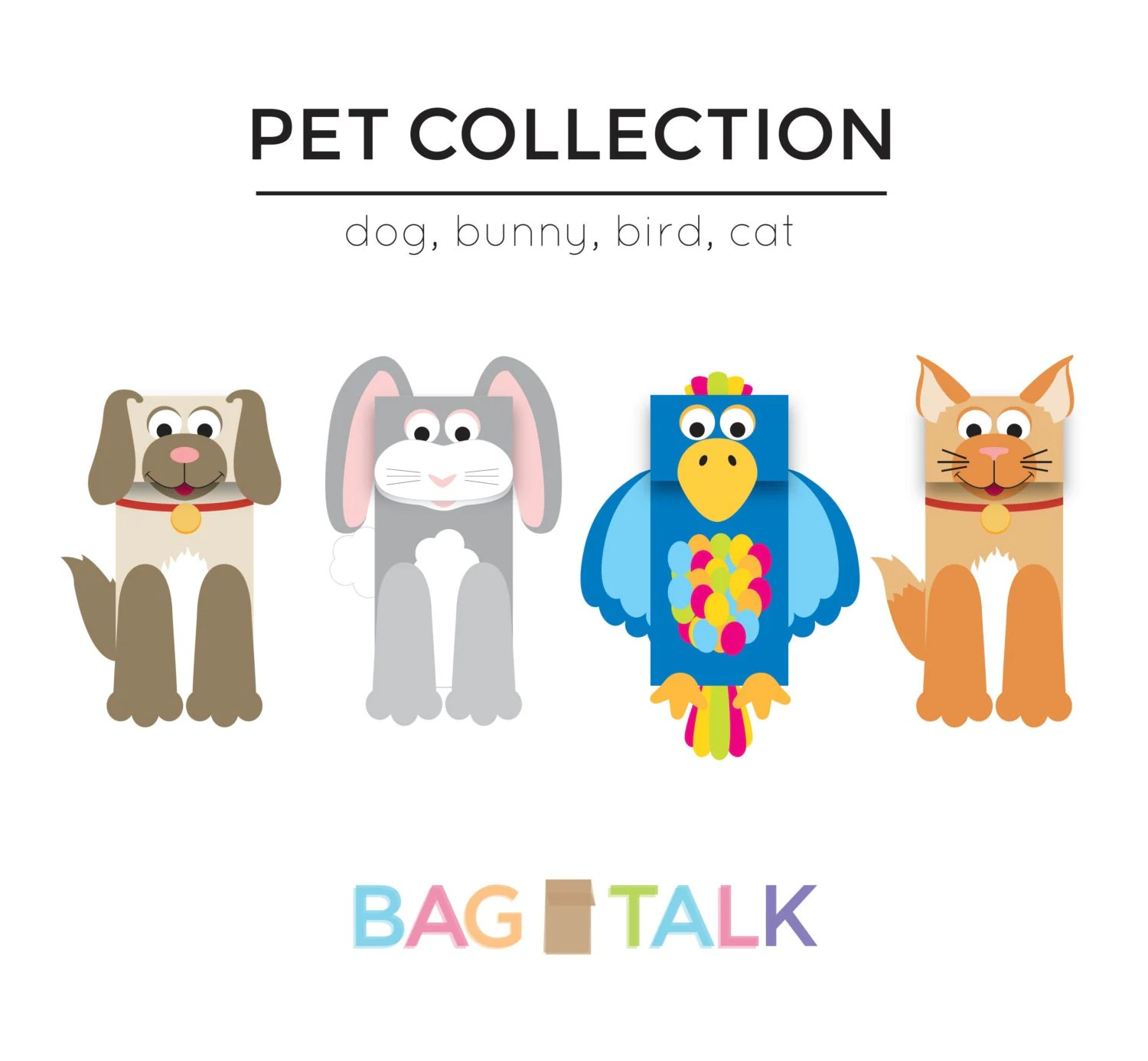 Pets Printable Paper Bag Puppet Cut Outs By Bagtalk On Etsy