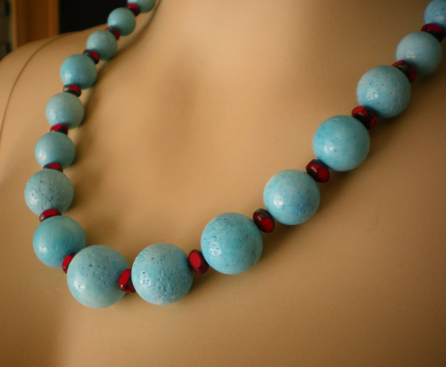 Gemstone Necklace From Blue Sponge Coral And Red Glass Beads