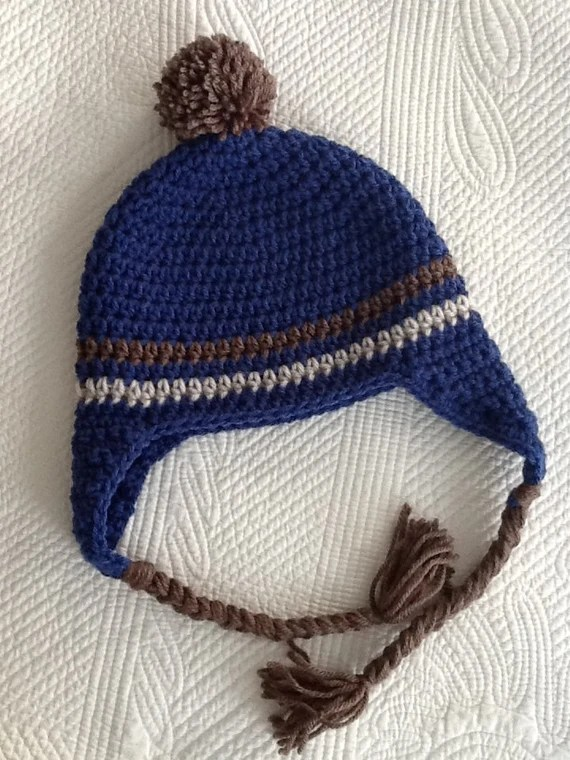 Crochet Hat with Earflaps, Blue and Brown Hat, Crochet Hat with Pompon, Little Boy Hat, Stripe Baby Hat, Hat with Earflaps