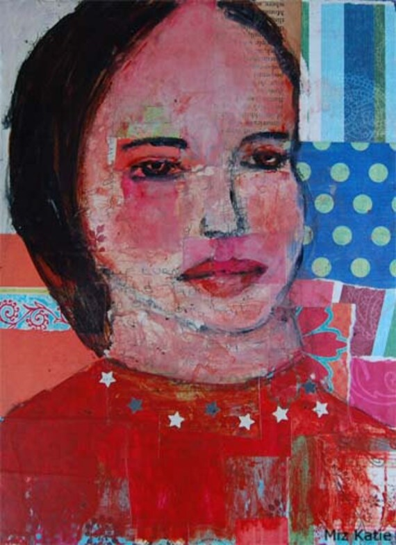 Acrylic Portrait Painting Collage 9x12 Star Worthy, Original, Mixed Media, Girl, Red, Blue, Dots, Face, Brown Eyes