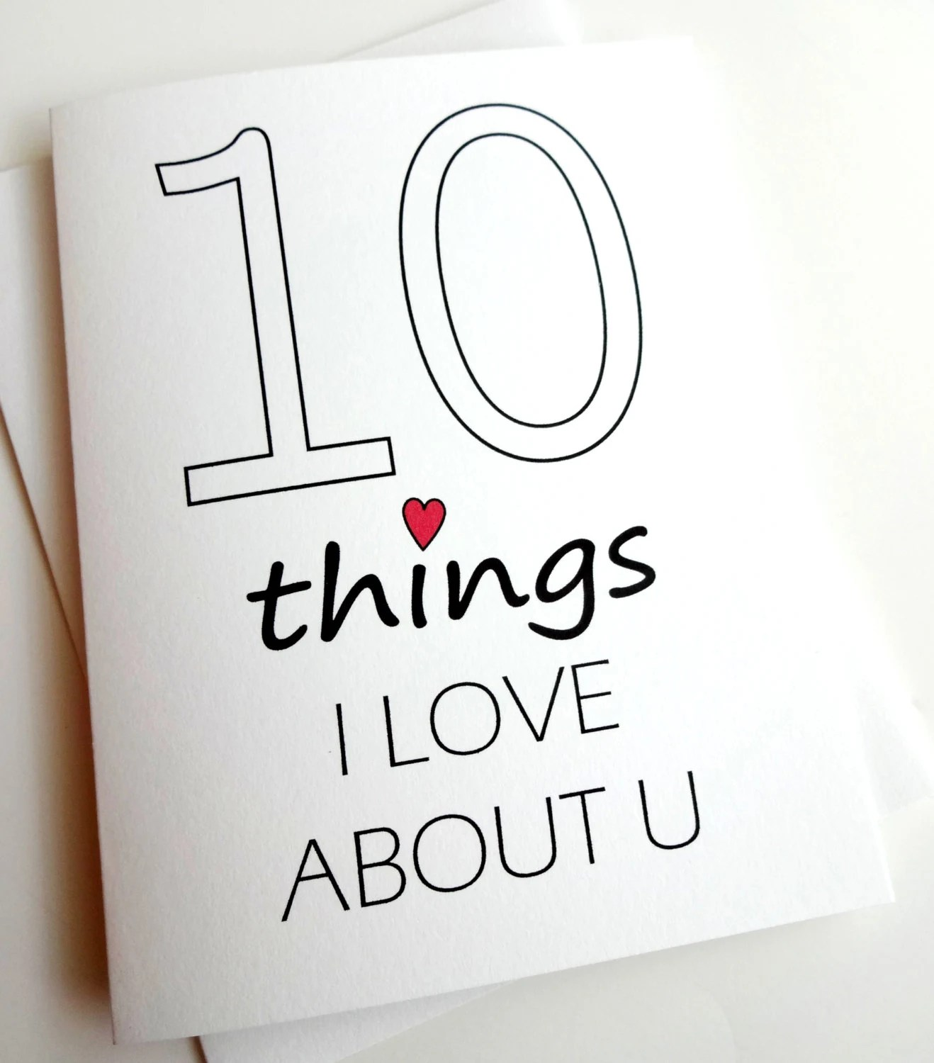 10 Things I Love About You Card Anniversary Birthday