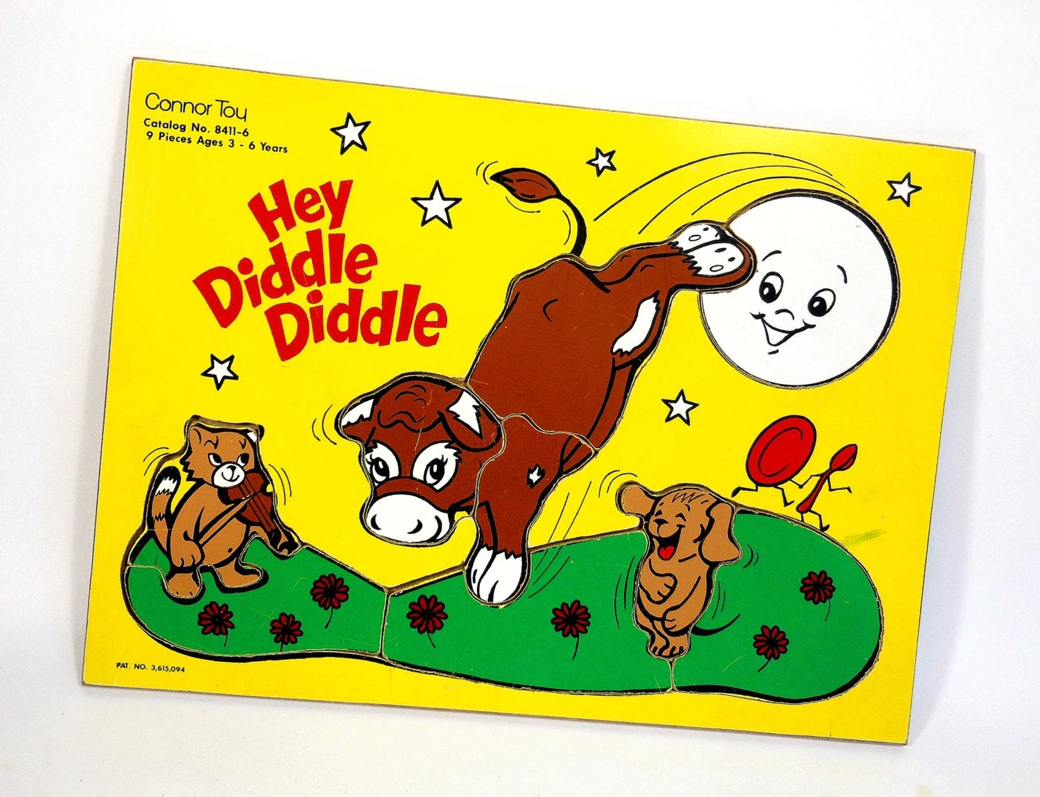 Vintage Wooden Puzzle Hey Diddle Diddle Nursery Rhyme Cow Moon