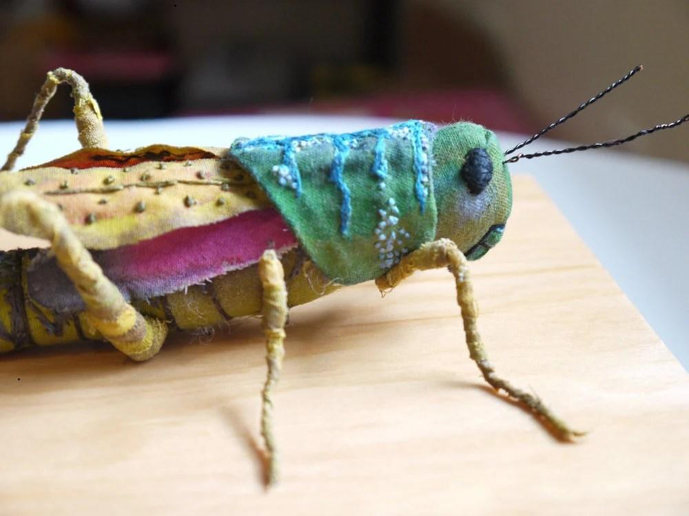 Fabric sculpture -Grasshopper textile art