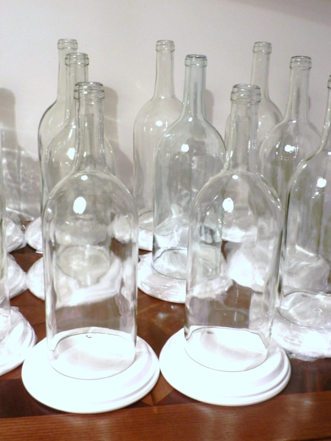 10 CLEAR Wine Bottle Candle Holder Hurricane Lamp