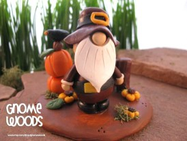 OOAK Pilgrim Gnome Sculpture by Jennifer Jeffs of Gnome Woods