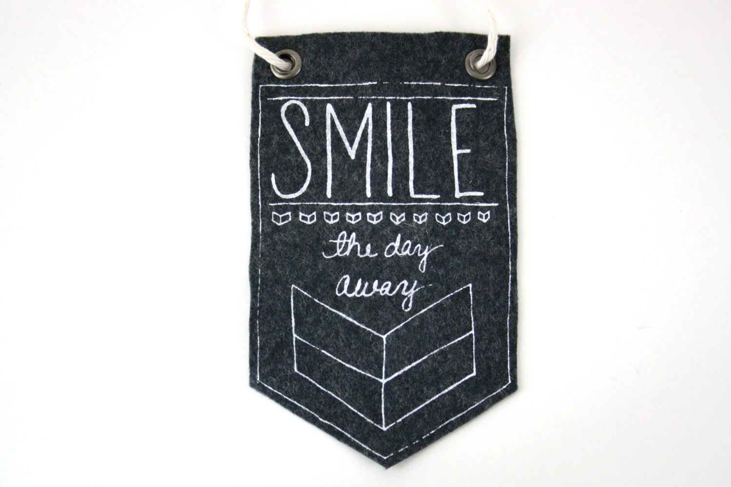 Mini-Banner wall hanging, Smile The Day Away, dark gray wool blend felt, screen print in white ink