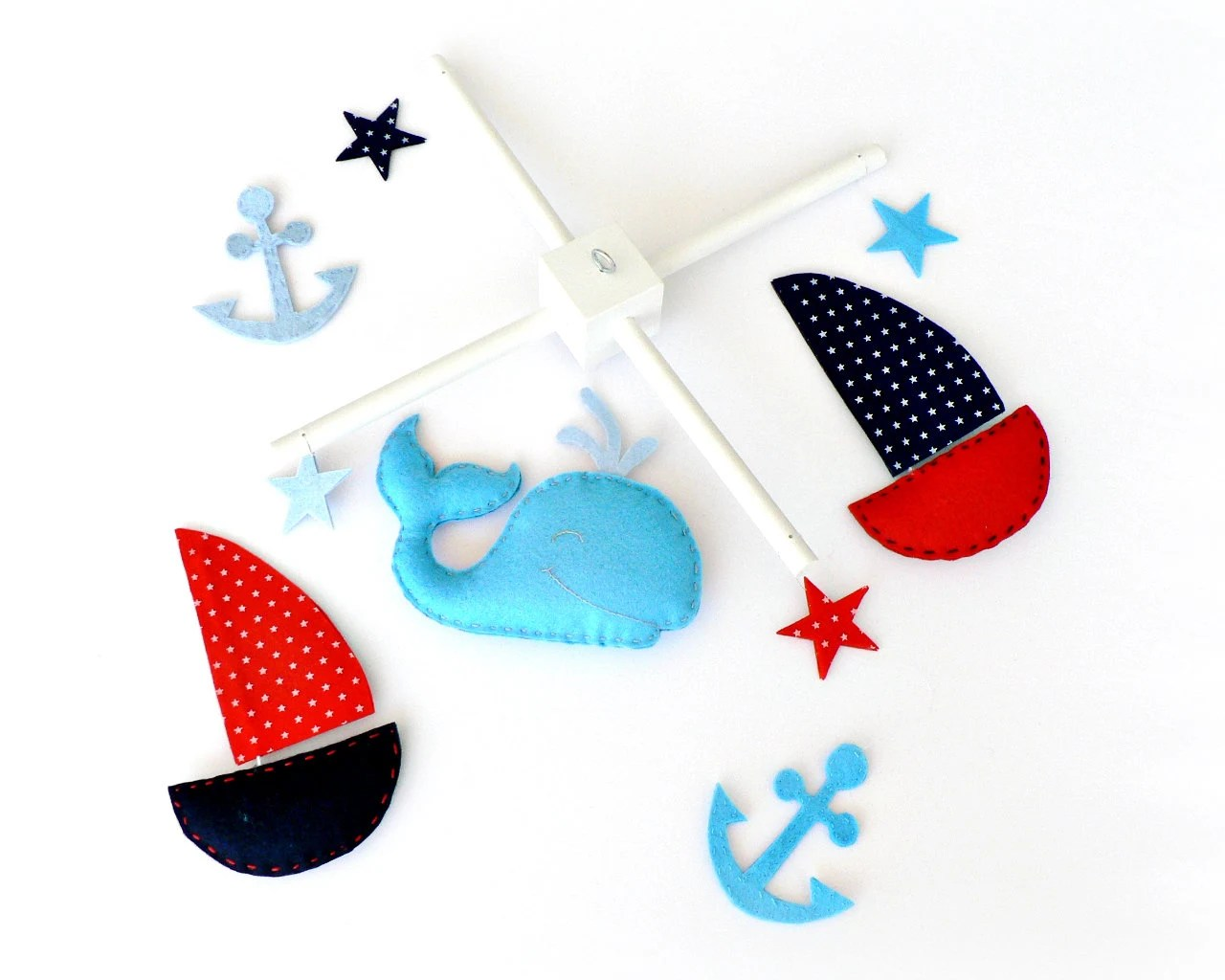 Nautical mobile - Felt whale, sail boats, stars and anchors - You pick your colors - navy blue, red, water blue, light blue - Nursery decor - LullabyMobiles