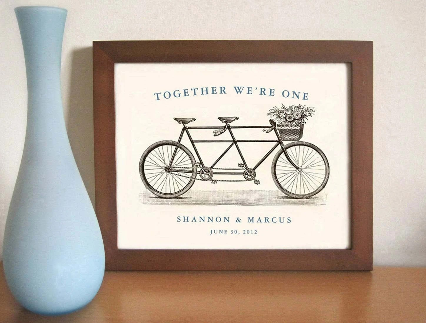 Tandem Bike Unique Wedding Gift Personalized Art Print