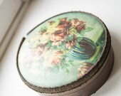 Antique French jewelry box. 1800s round floral paper cardboard cardstock w metallic lace trim. Made in France. Paris apartment regency decor - DecapitatedPenguin