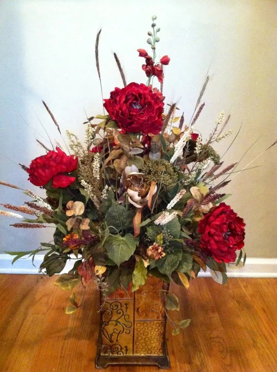 Extra Large Luxury Fall Autumn Floral Arrangement Silk Flowers