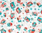 ADORNit Cuddle Fabric - Owls All Around, Coral - 1/4 yard minimum