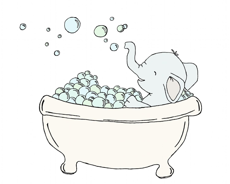 Kids Bathroom Art Elephant Bubble Bath Elephant Art