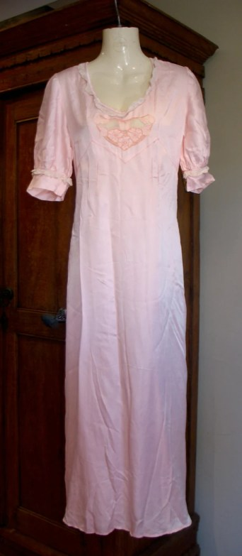Vintage 1930s Pink Silk and Lace Nightgown - M