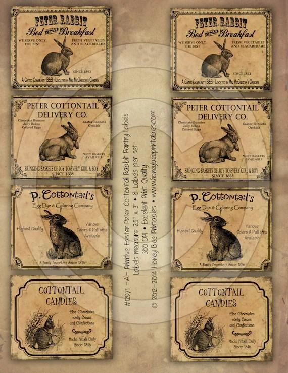 Prim Easter Peter Rabbit Cottontail Pantry Farmhouse Labels