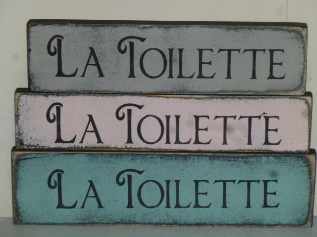French TOILET SIGN / La Toilette shelf sitter sign