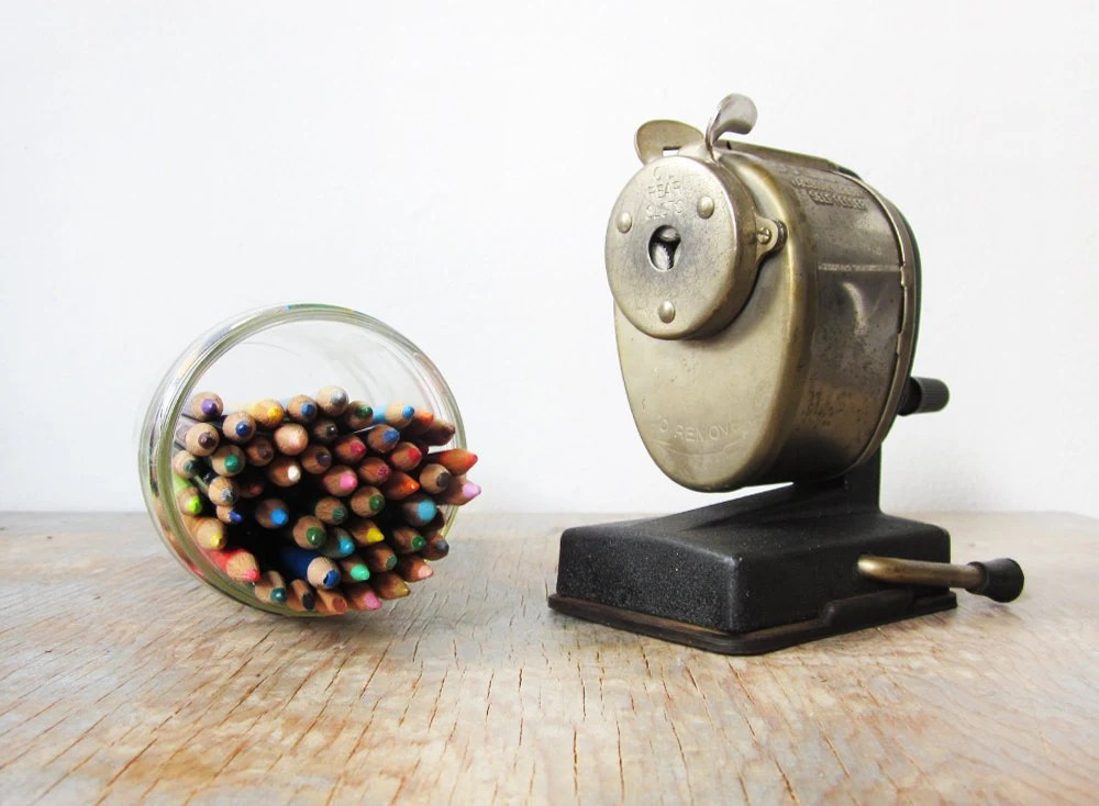 vintage pencil sharpener / Boston vacuum mount metal pencil sharpener / industrial school supplies - RustBeltThreads