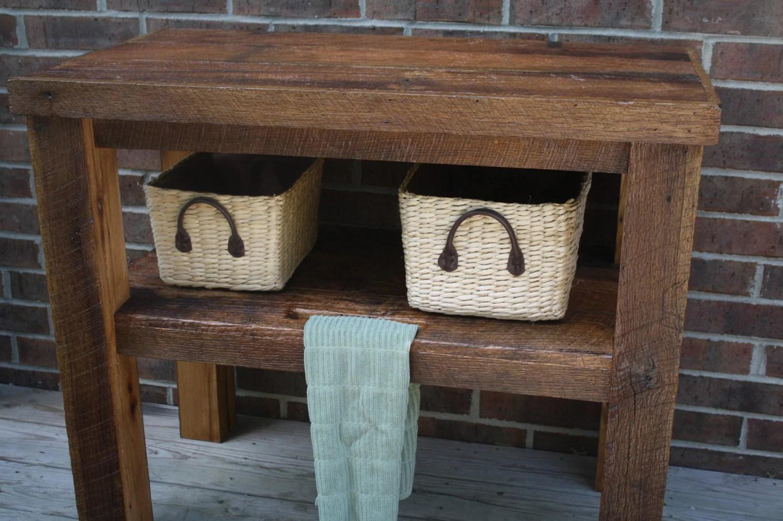 YOUR Custom Rustic Barn Wood Vanity Shelf Or Table FREE