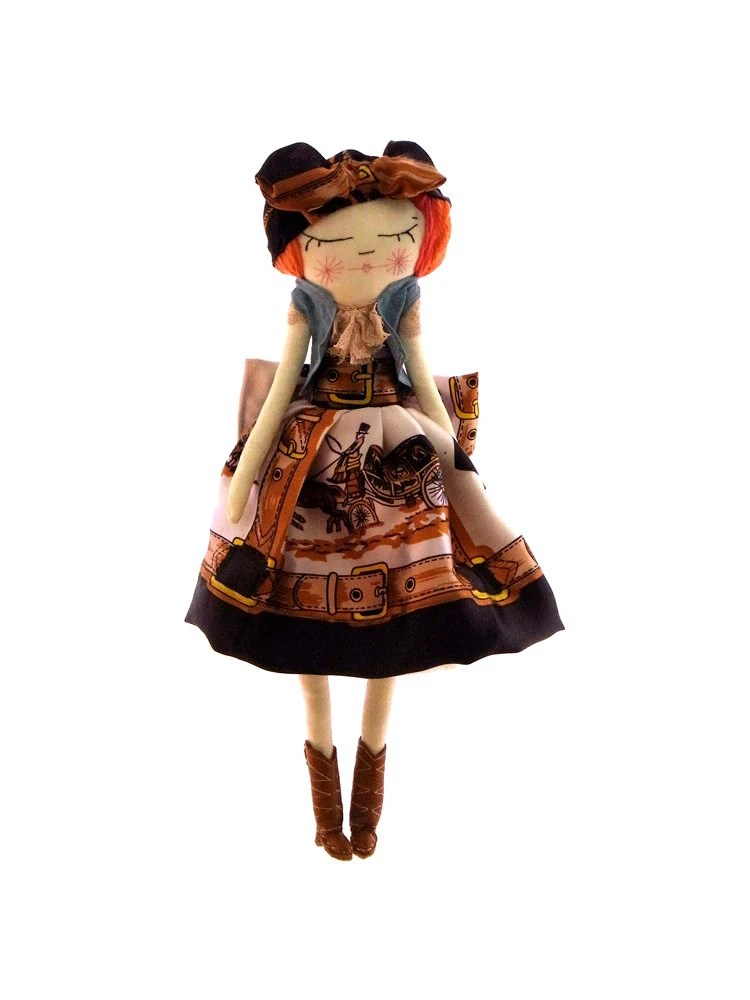 YeeHaaa, Country Gal, cloth doll, made from a vintage scarf