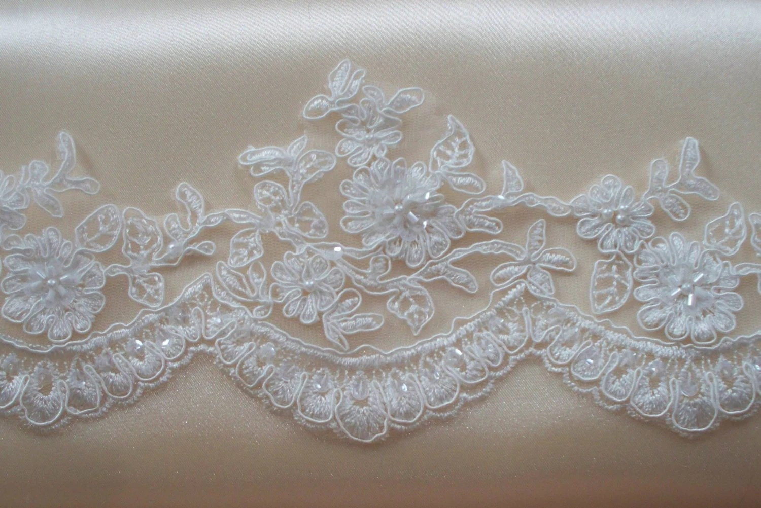 Ivory Lace Trim Bridal Lace Wedding Gown Lace Beaded
