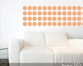 Peel and Stick Pastel Orange Polka Dot Wall Decals | Long Life | Apartment Safe