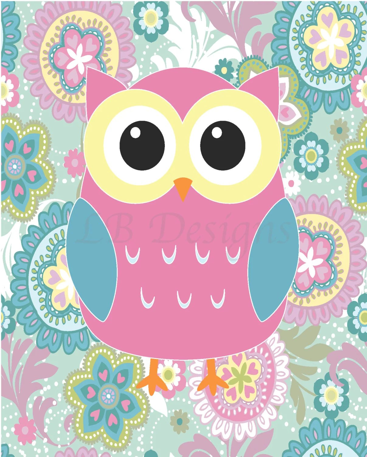 Girls Owl Nursery Decor Owl Bedroom Decor Pink Owl Print