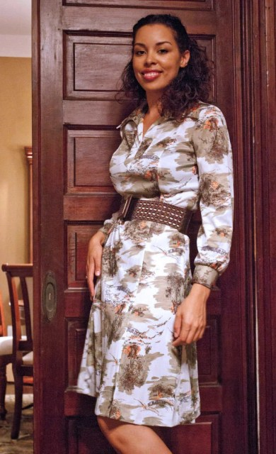 70s Shift Dress Shirt Dress Pastoral Folk Print Long Sleeves Knee Length