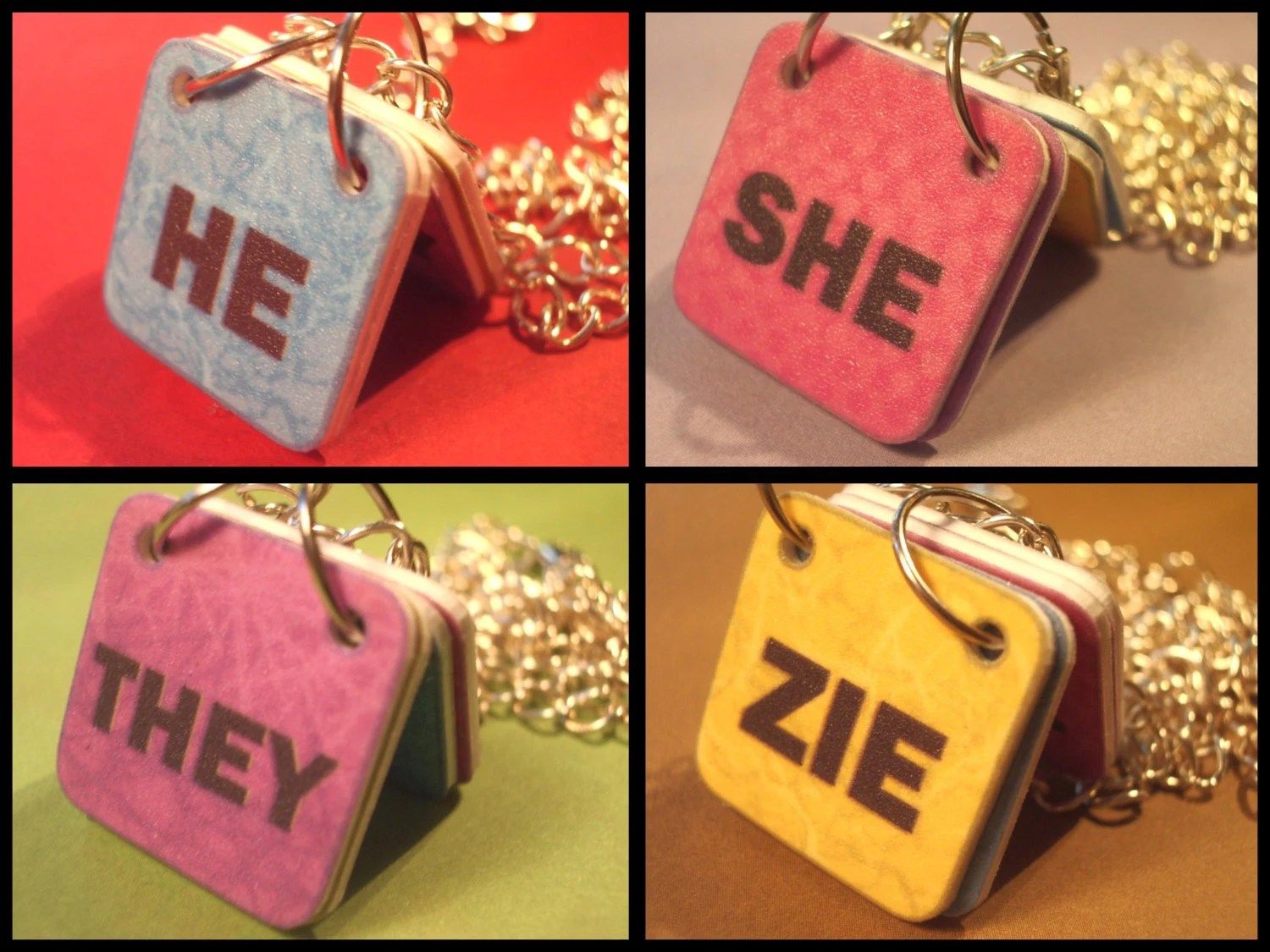 Genderfluid Pronouns Necklace He She They Zie Textured